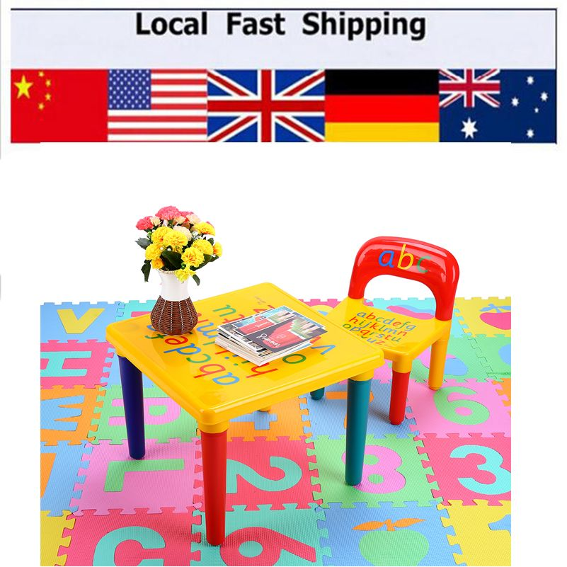 Hot Children Kids Learning Planner Table Activity Alphabet Learn And Chair Set Study For