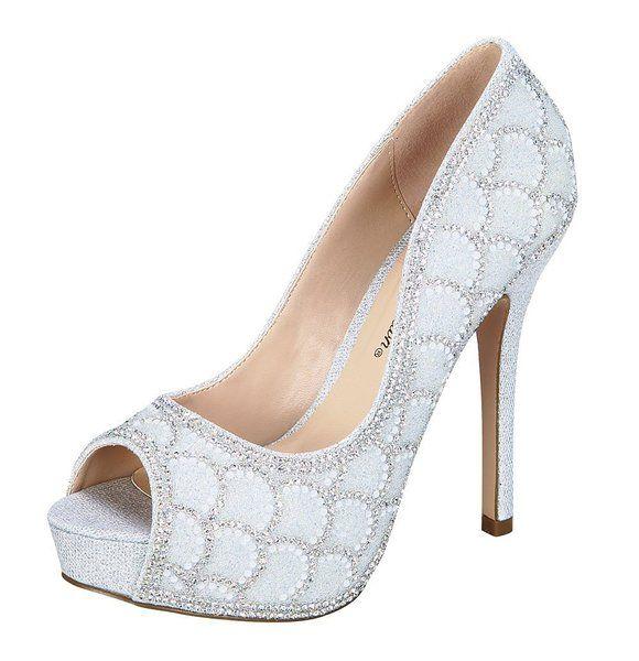 Women's Carina-39 Sparkle Mesh Formal Open Toe Dressy High Heel Pump Silver 7