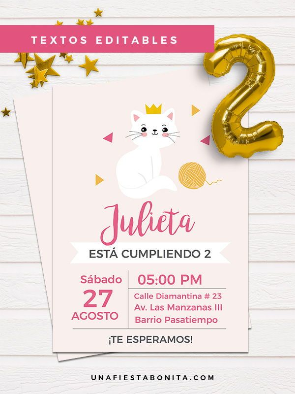 Invitación Para Imprimir Temática Gatita En 2019 Tarjetas