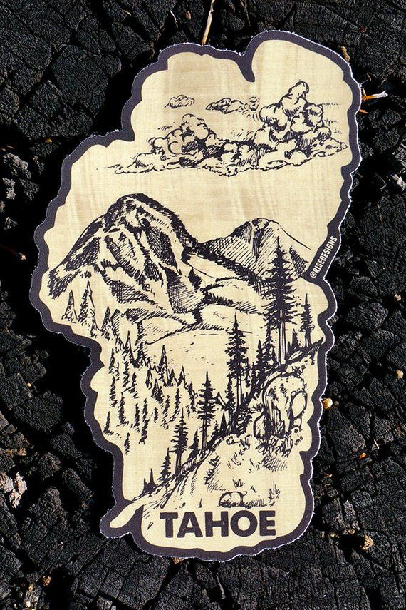 Lake Tahoe Sticker Mountains Forest And Clouds Wood Grain Background Hand Drawn