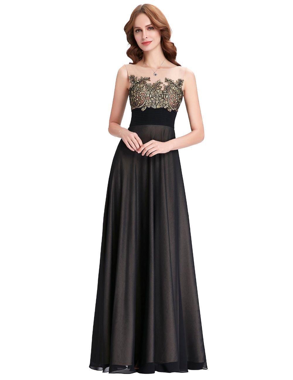 Kate kasin dentelle appliques robes de mari e longue for Robes noires pour demoiselle d honneur de mariage