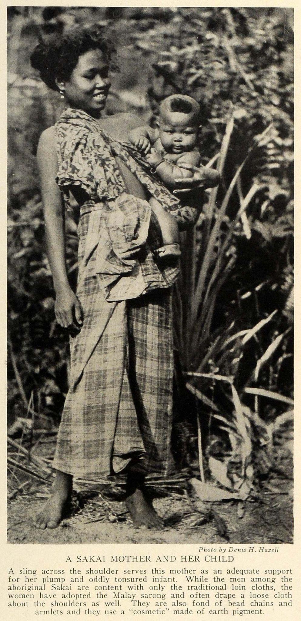 1928 Aboriginal Sakai Mother Child Baby Sling Malaysia Sarong Earth Trv1 Baby Sling Mother Child Baby Kids