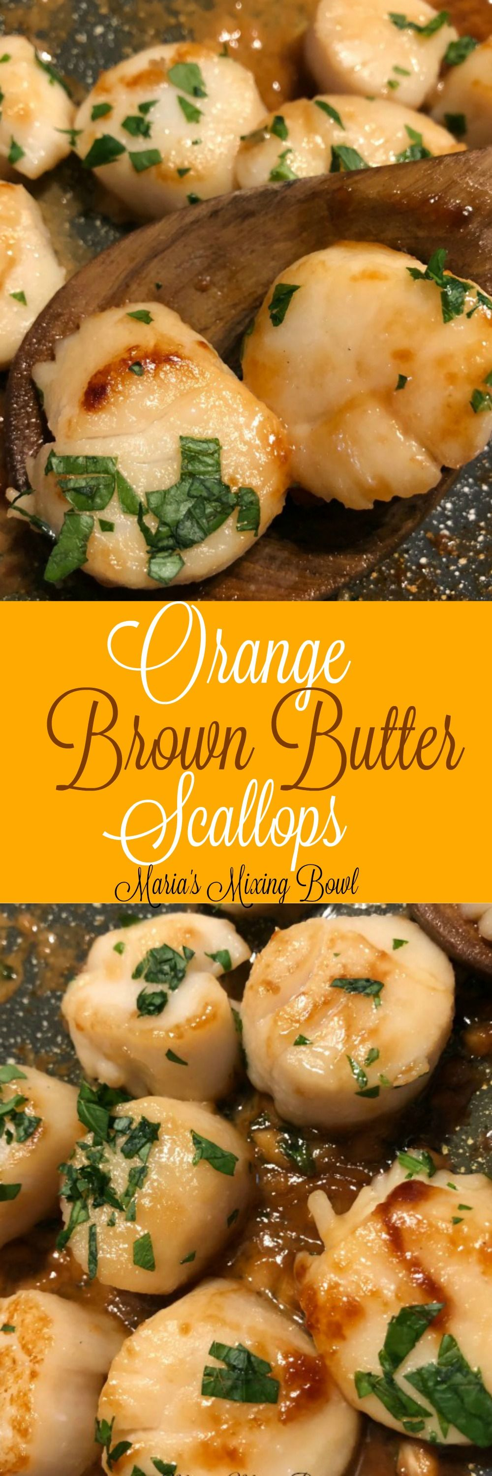 Orange Brown Butter Scallops Recipe-Seared Scallops with Orange Brown Butter Sauce is easy to cook but also the perfect special occasion dinner. #orange #scallops #brown #butter #seafood #delicious #easy #companydinner #weeknightmeal