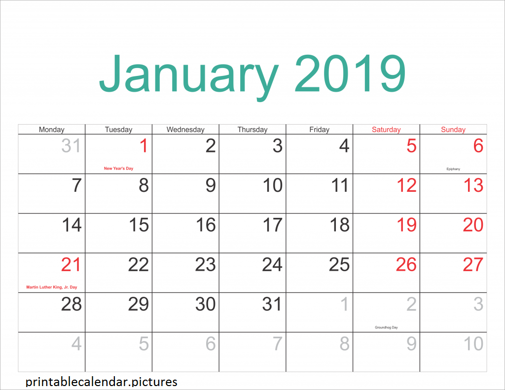 Printable Calendar January With Holidays