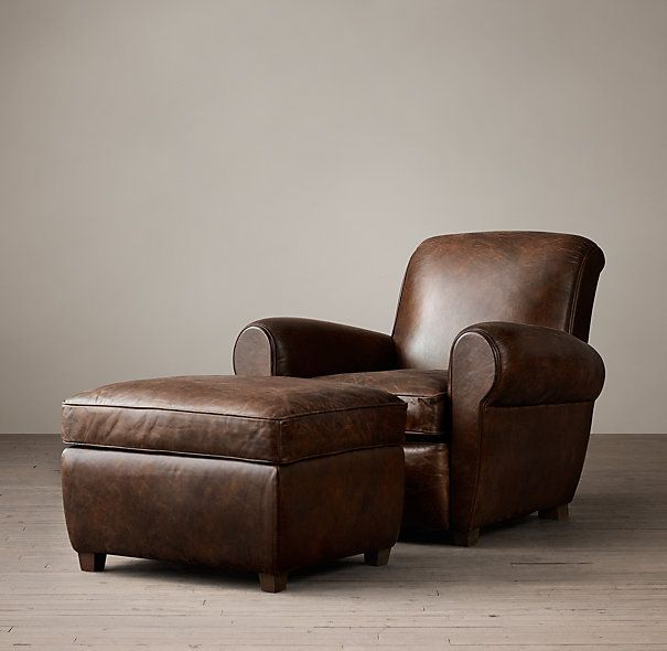 1920s Parisian Leather Club Chair Leather Club Chairs