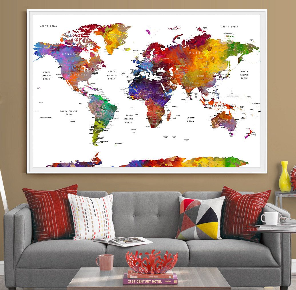 an absolutely stunning push pin map of the world for those dreaming