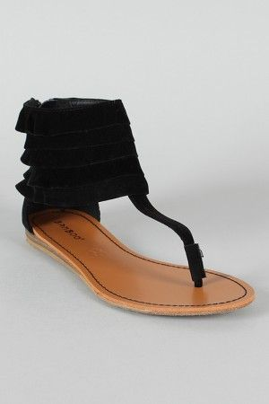 Bamboo Steno-06 Suede Tiered Ankle Cuff Flat Sandal $22.20