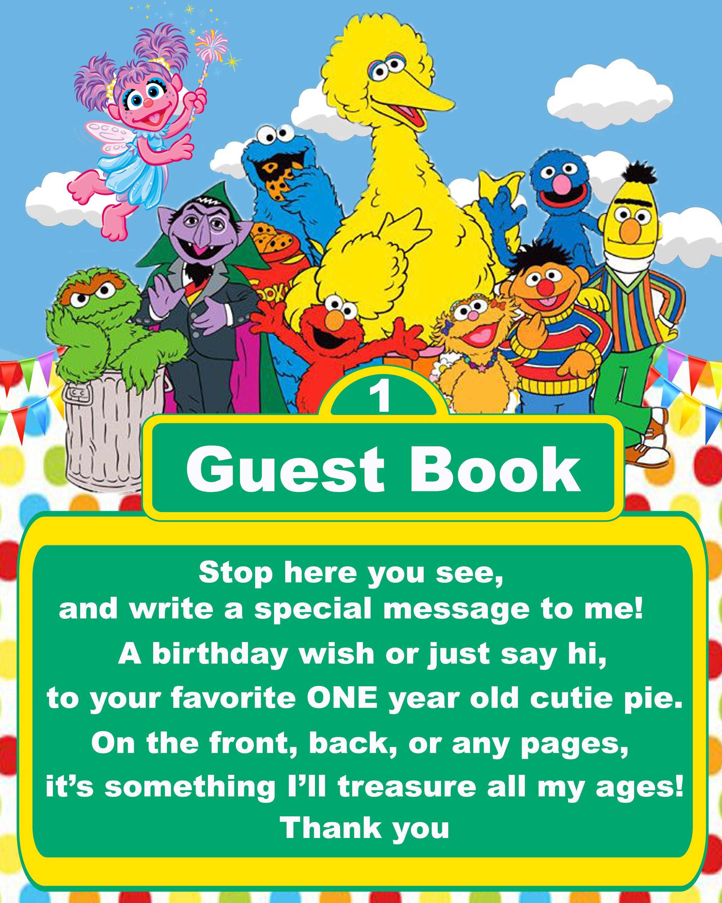Sesame Street Elmo Guest Book Sign for 1 year old boy