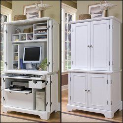 Merveilleux Naples Compact Computer Cabinet With Hutch By Home Styles, White Computer  Armoires