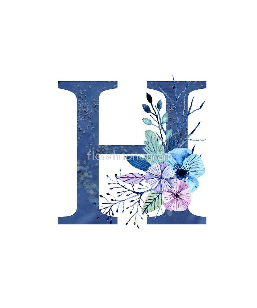 Monogram H Icy Winter Bouquet Sticker By Floralmonogram In 2021 Flower Art Drawing Winter Bouquet Monogram Wallpaper