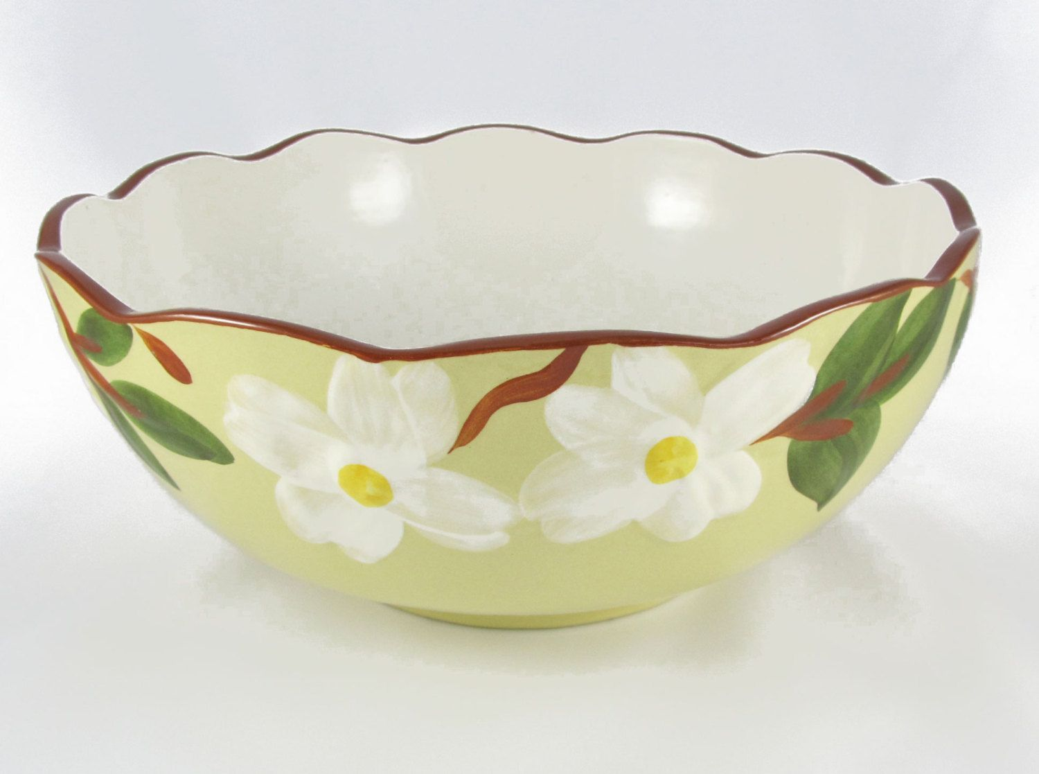 Stangl Pottery White Dogwood Salad Bowl Stangl Dogwood Dinnerware Large Serving Bowl by 2kVintageShop on Etsy & Stangl Pottery White Dogwood Salad Bowl Stangl Dogwood Dinnerware ...