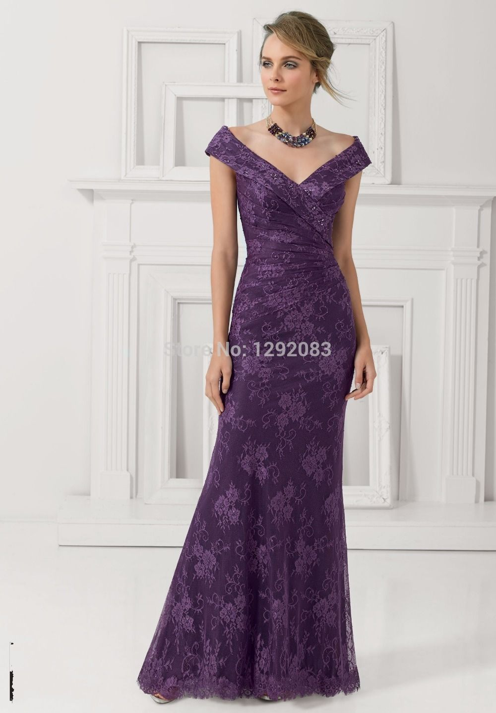 2015-Tall-Eggplant-Lace-Long-Mother-of-the-Bride-Dress-V-Neck-with ...