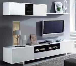 Living Room Furniture White Gloss bambi tv unit living room furniture set modular media wall white