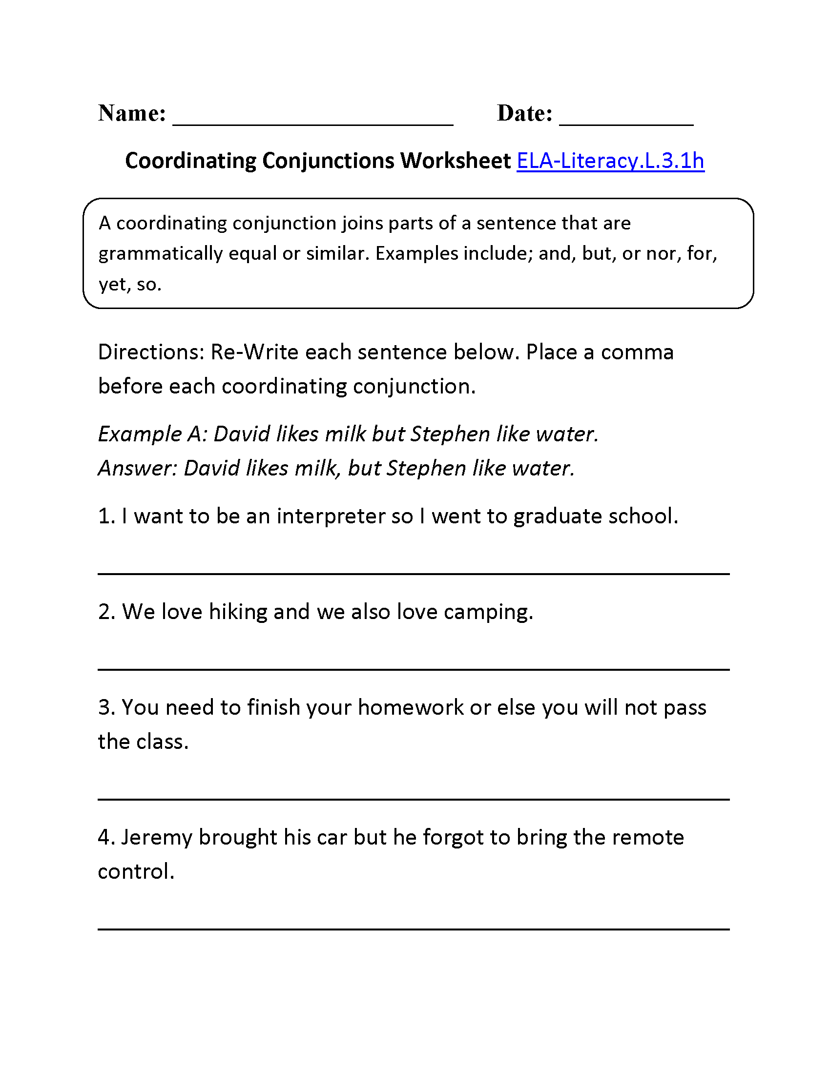 3rd Grade Common Core   Language Worksheets   Conjunctions worksheet [ 2200 x 1700 Pixel ]
