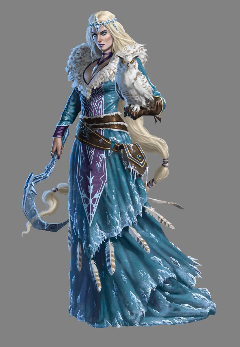 female human magic ice cold sorcerer wizard magus scythe owl