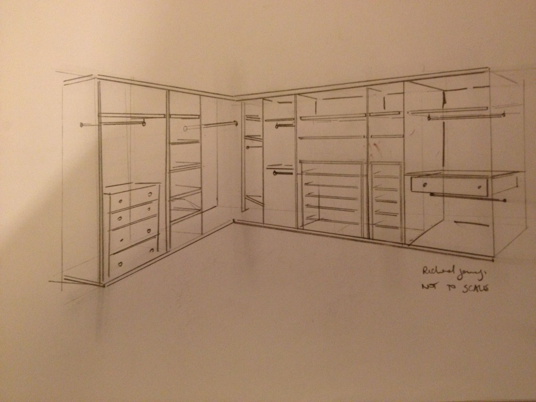 A sketch for a hand made wardrobe this shows the proposal for Internal bedroom design