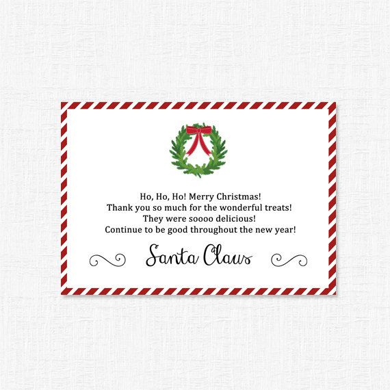 Santa thank you for the milk and cookies by adelicategift www - printable thank you note