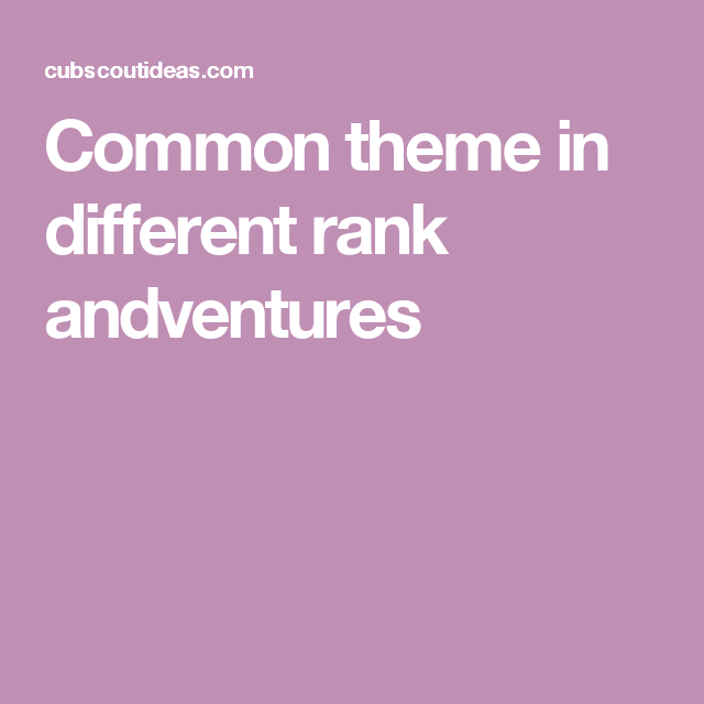 Common theme in different rank andventures