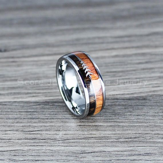 Custom Engraved 8mm Tungsten Wood Ring Boho Ring with Redwood and