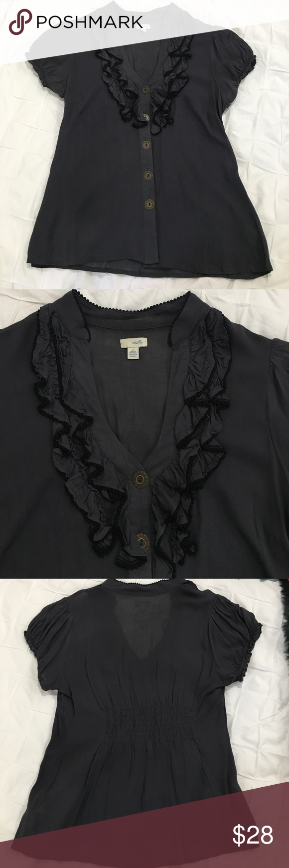 Anthropologie ✨ Ruffle Top Gray V-neck Top from Anthropologie. Ruffles around the neck with black trim and gold buttons up the front. Good condition! Anthropologie Tops Blouses