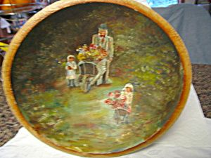 Antique hand painted wood bowl for sale at More Than McCoy at http://www.morethanmccoy.com