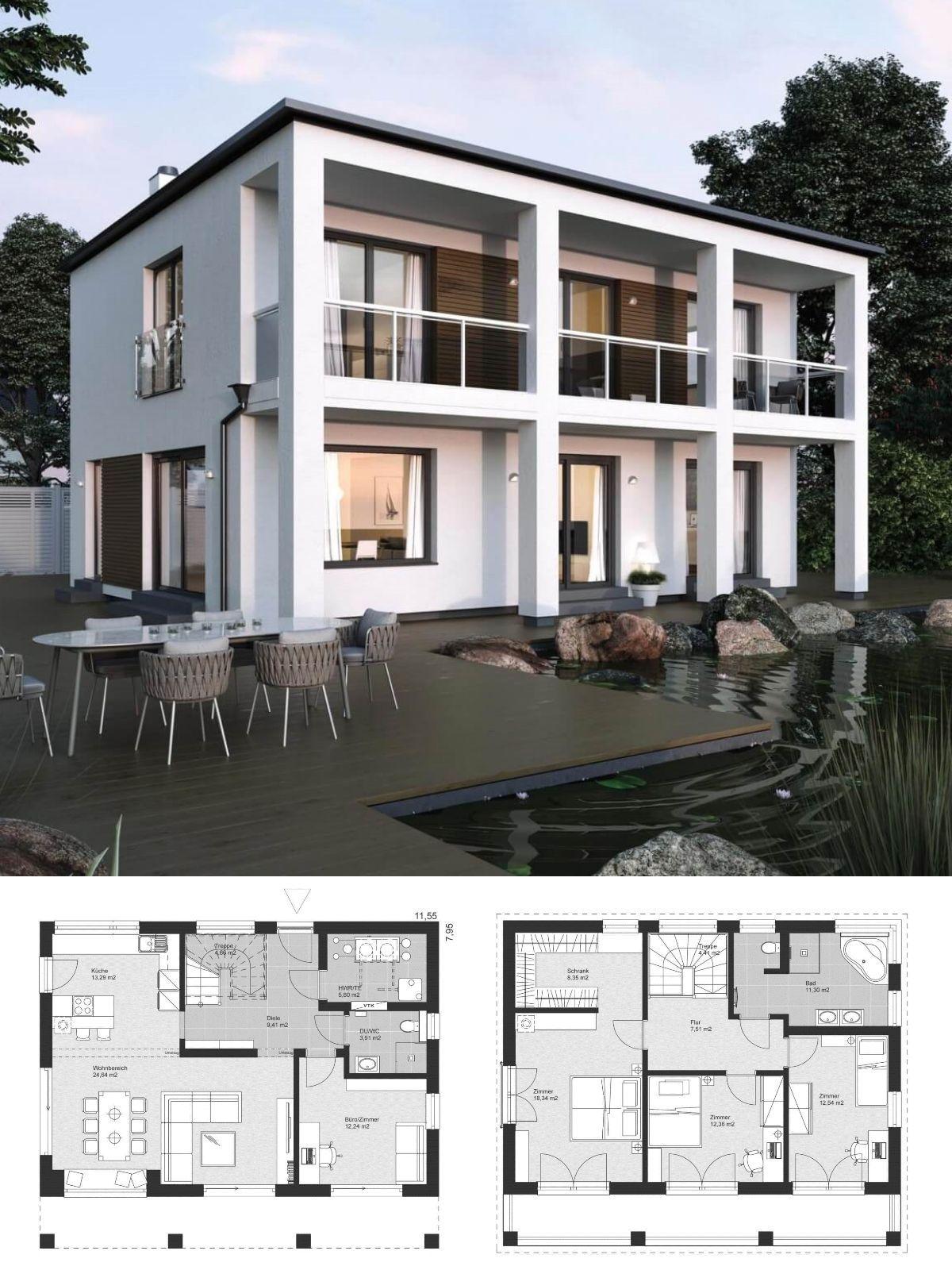 Bauhaus stadtvilla modern grundriss mit flachdach for Grundriss einfamilienhaus 2 vollgeschosse