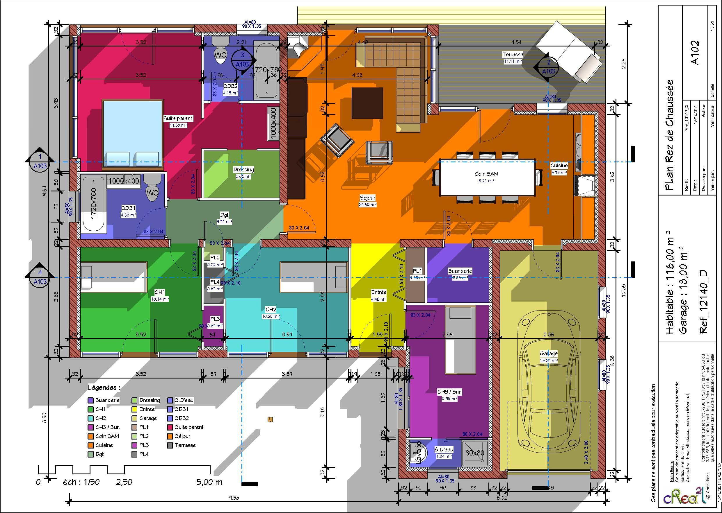 Plan maison plain pied 4 chambres avec suite parentale for Plan de maison 5 chambres