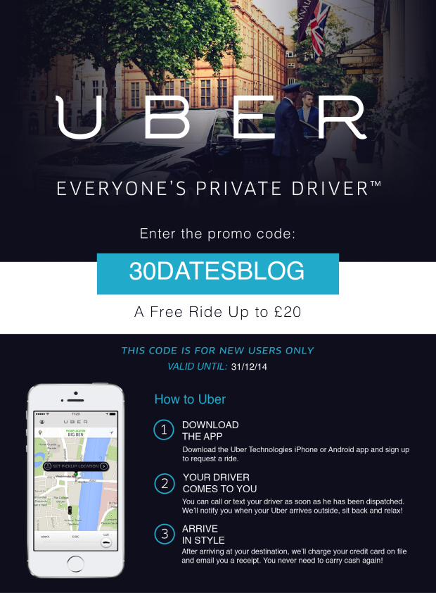 UBER FLYER 30 DATES (Safety First Uber Cabs Promo Code