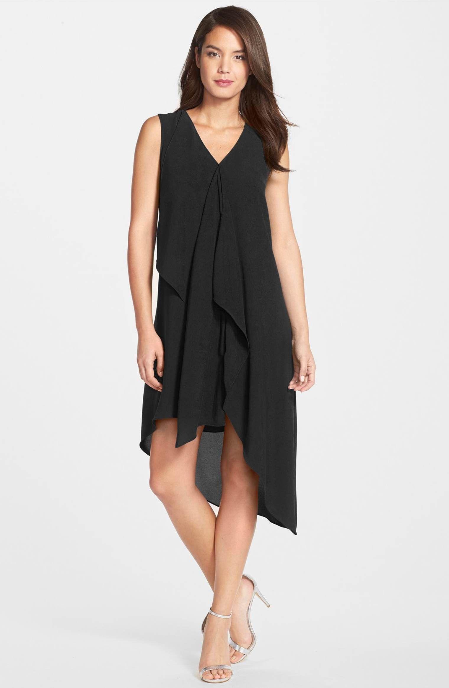 d72604da7f881c Main Image - Adrianna Papell Ruffle Front Crepe High/Low Dress (Regular &  Petite)