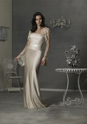 A-line Strapless Floor-length Satin Mother of the Bride Dress