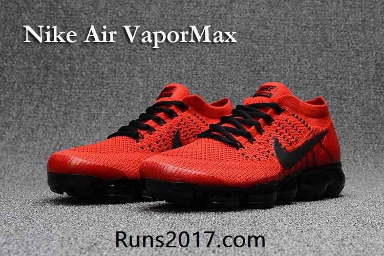 Nike Air VaporMax Flyknit Men Red Black