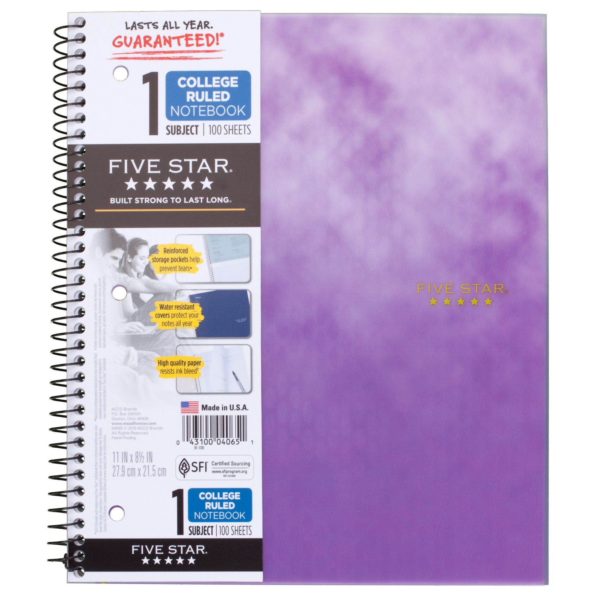 Clouded Spiral Notebook 1 Subject College Ruled Purple