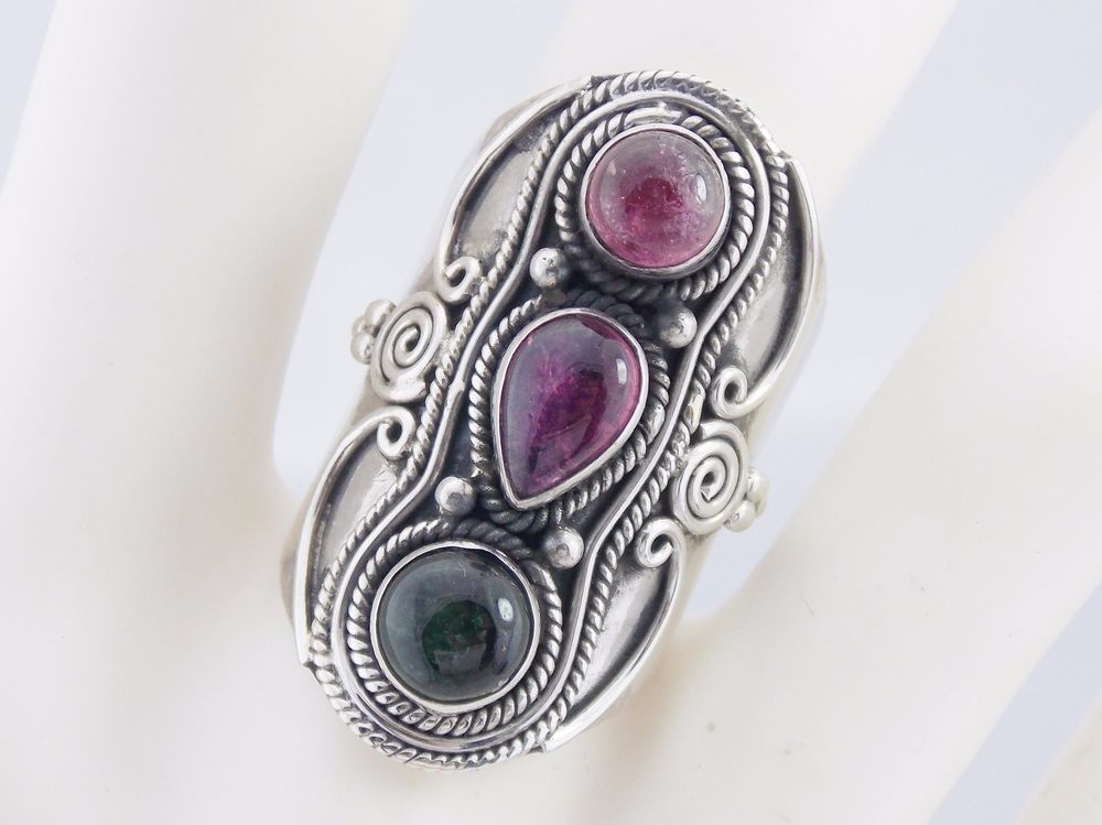 Vintage Sterling Silver Cabochon Green and Pink Tourmaline Ring Sz 6.75 #3140 #Gemstones