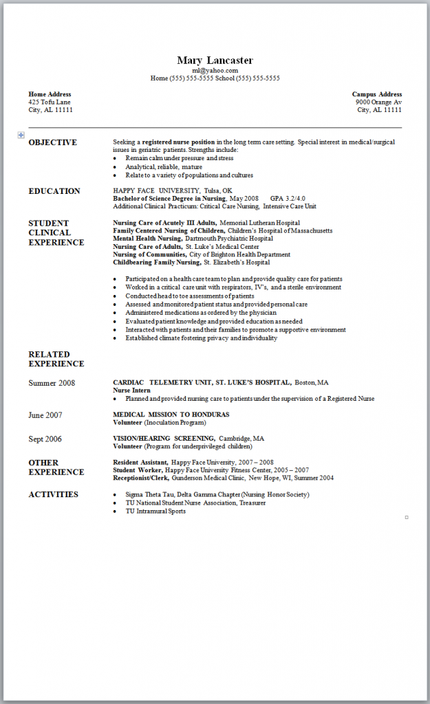 Sample Nursing Resume New Graduate Nurse Nursing