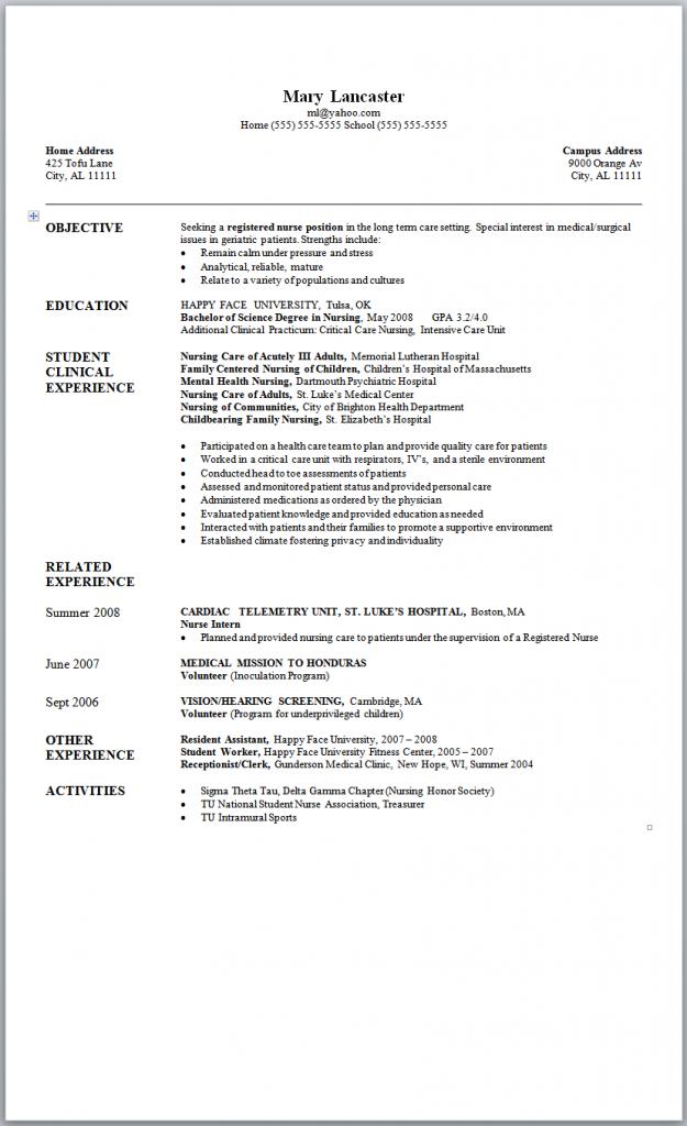 sample new grad nursing resume