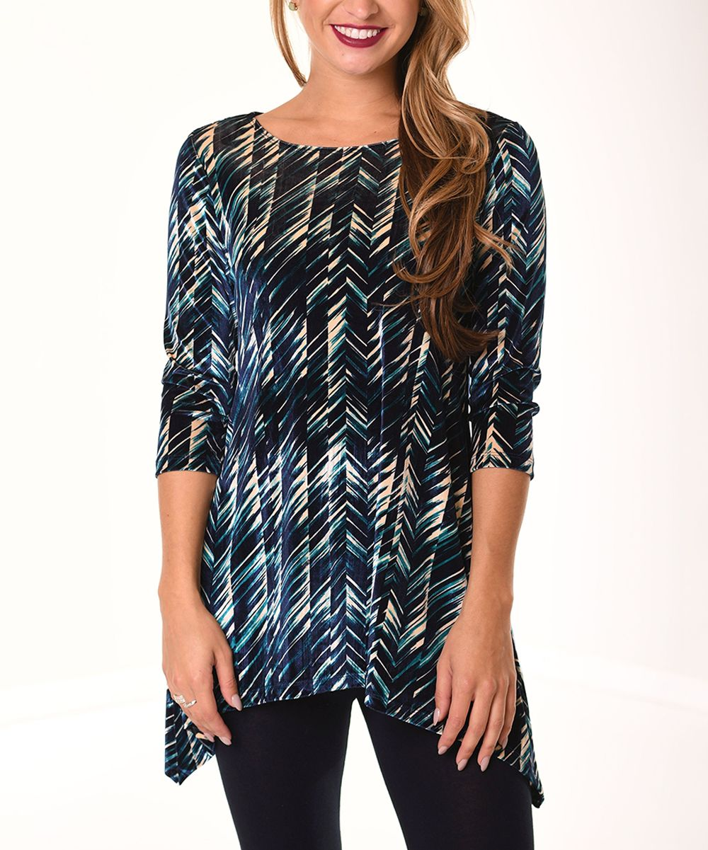 Navy & Teal Abstract Velvet Sidetail Tunic - Plus