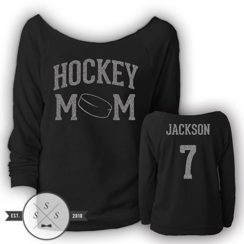 Customized Hockey Mom Ladies Terry Raw Edge 3 4 Sleeve Etsy Soccer Mom Shirt Football Mom Hockey Mom