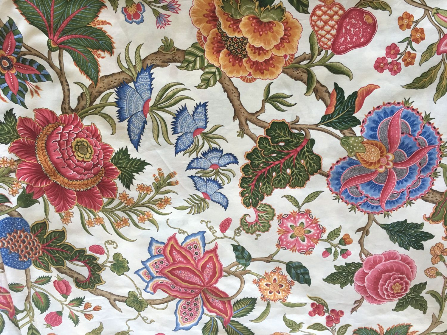 Brunschwig Fils Nizam Floral Cotton Fabric by the Yard
