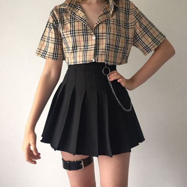 Photo of Review For Plaid Shirt High Waist Skirt YV40347