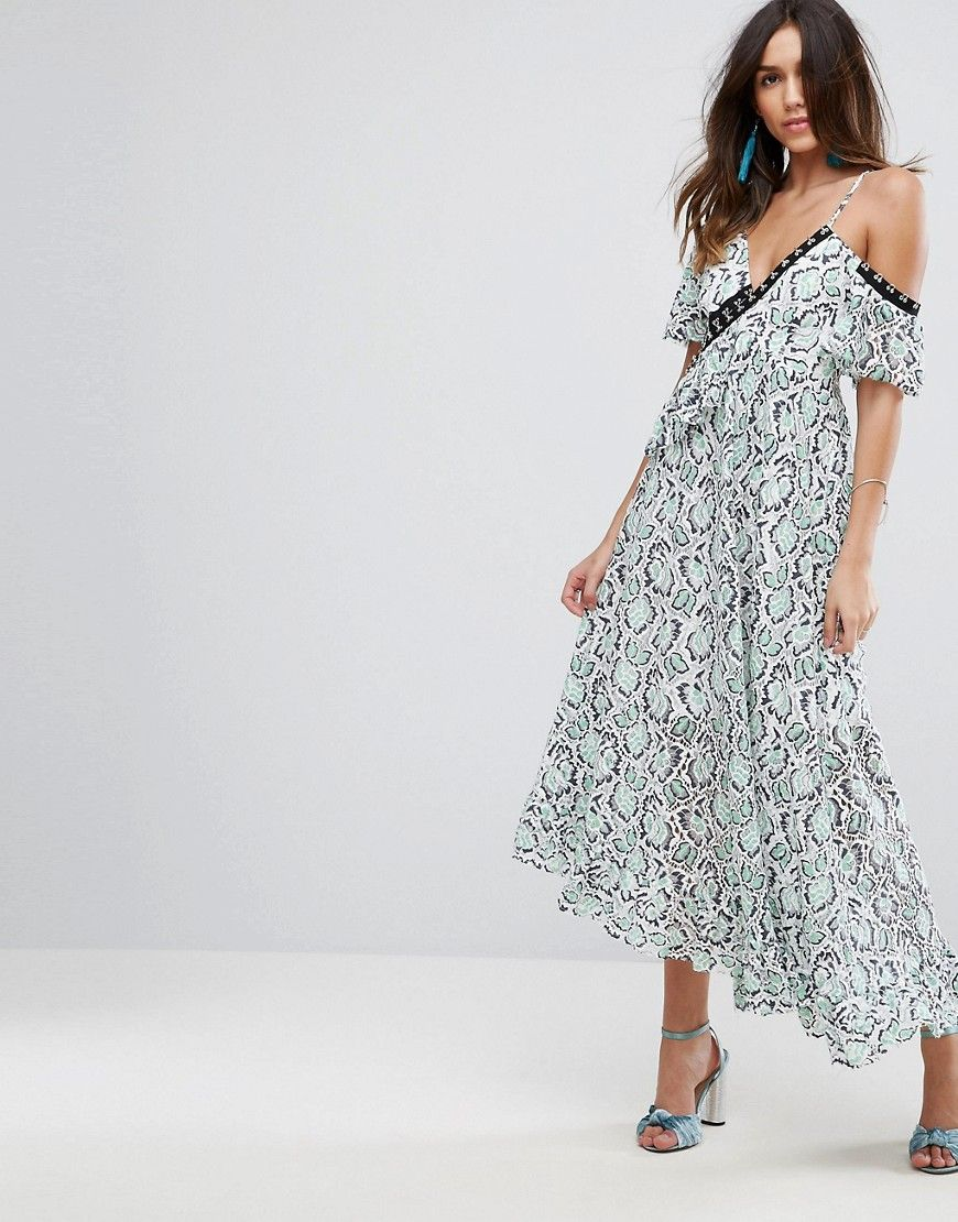 Asos premium lace ruffle maxi dress multi threads pinterest