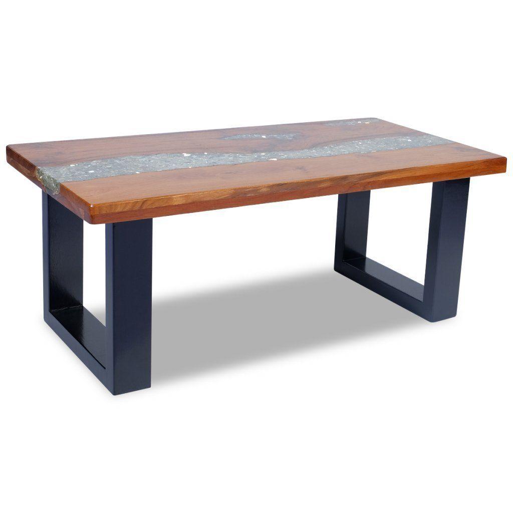 vidaxl coffee table end teak resin 100x50 cm living room