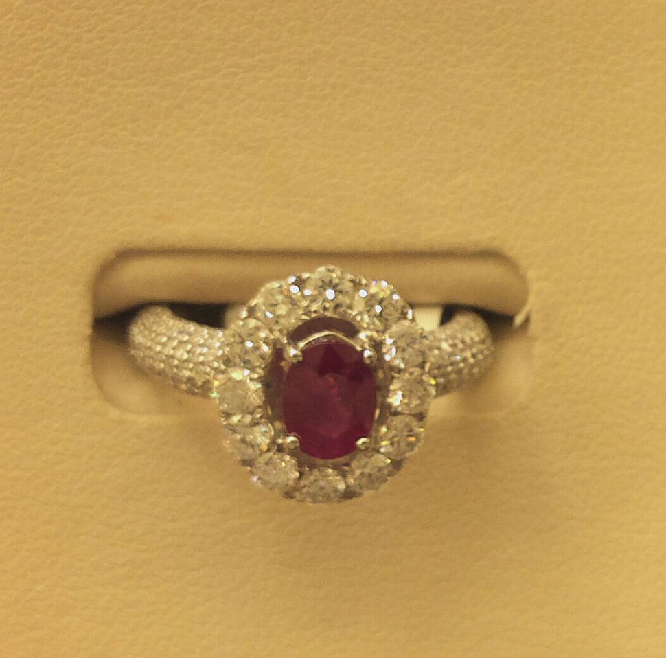 Ruby diamond halo style k white gold ring unique engagement