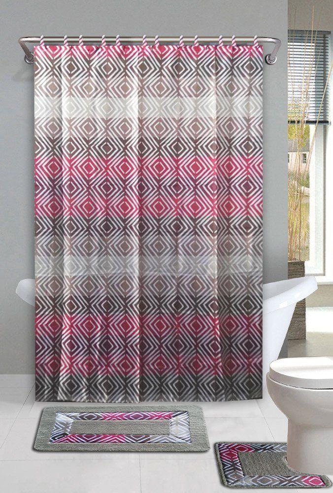 Sufyan Pink Tan 15 Piece Bathroom Accessory Set 2 Bath Mats