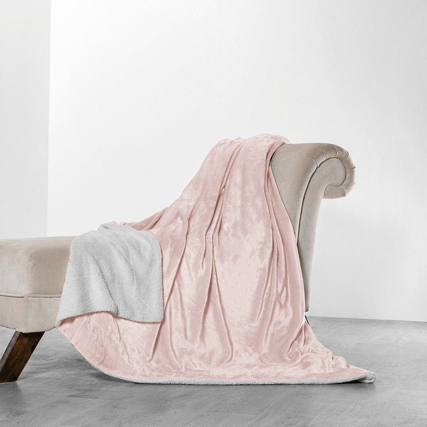 بطانية خفيفة مخمل و فرو مزدوج زهري Throw Blanket Blanket Blankets Throws