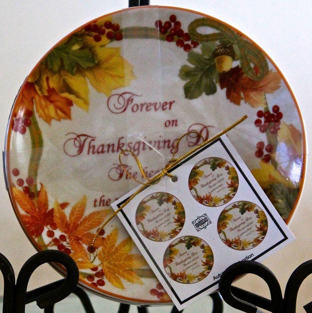 222 fifth autumn celebration set of 4 dessert appetizer plates new ...