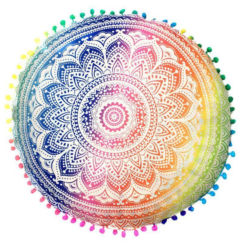 Indian Mandala Floor PillowsBohemian  Round Cushion Pillows Cover Case Color Tex...