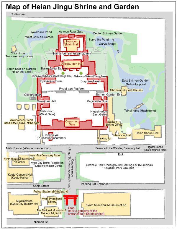 Mapa del Santuario Heian, en Kyoto