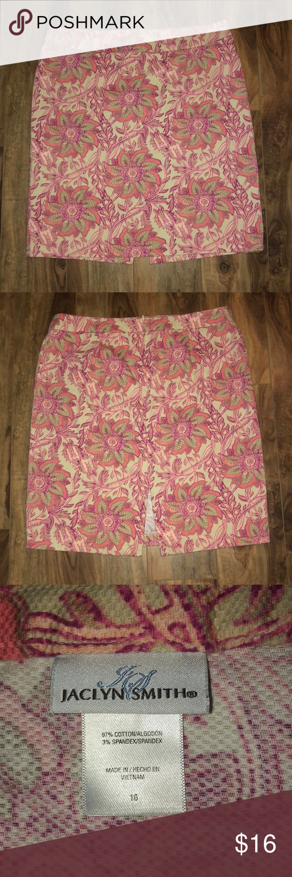 """fd69a0639b Colorful Skirt Colorful short skirt in pink tones, size 16. Brand """"Jaclyn  Smith."""" The fabric feels similar to corduroy. Length is 23"""" from waist to  hem; ..."""