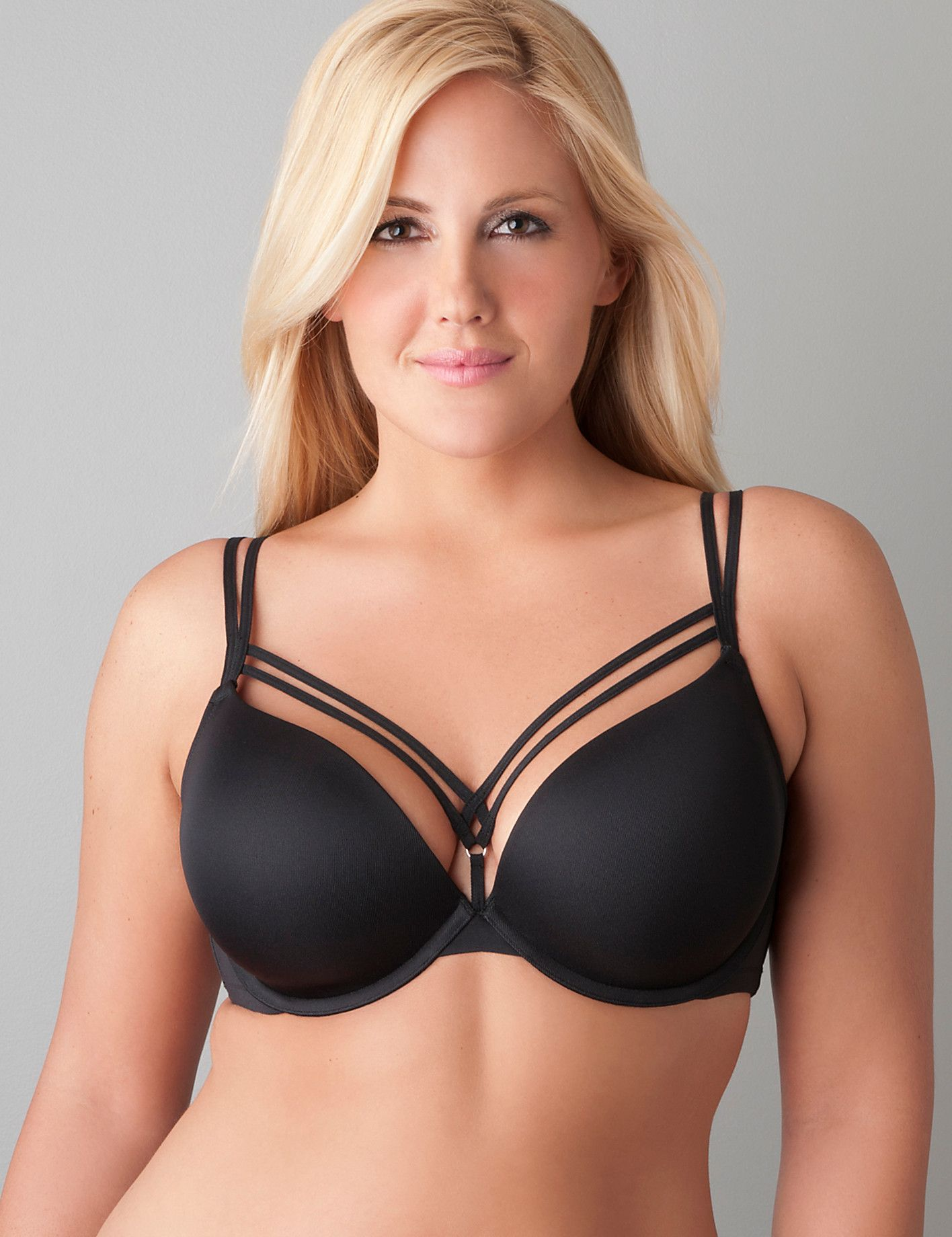 f74888244eb Seriously Sexy Plus Size Strappy Plunge Bra