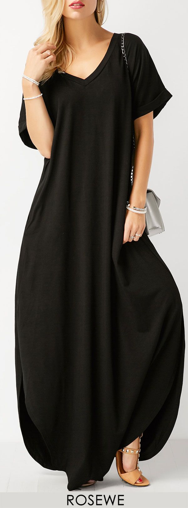 Short sleeve black side slit maxi dress pinterest side slit maxi